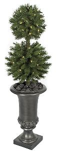 Artificial Topiary Trees, Outdoor Topiary, 41 inch Double Ball Topiary with Clear LED Lights